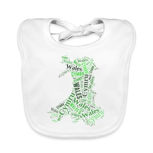 Wales Outline WordArt - Green - Baby Organic Bib