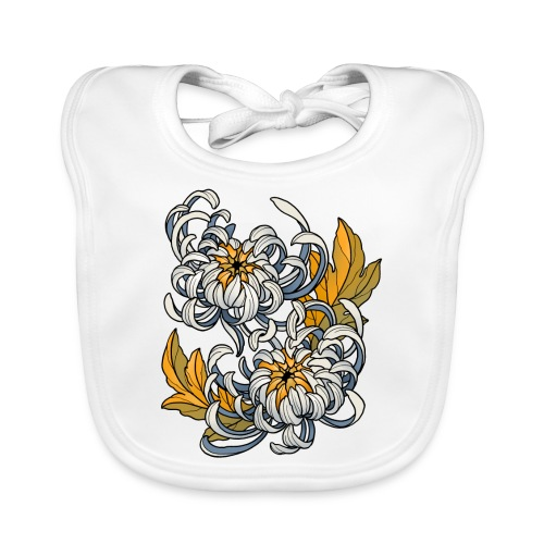 Chrysanthèmes enlacés - Bavoir bio Bébé