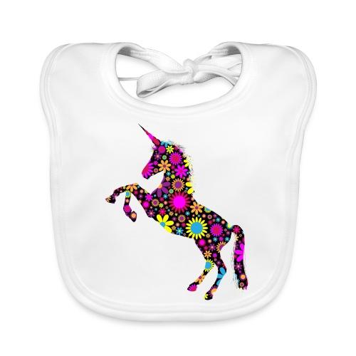 Unicorn-Floral - Bavaglino ecologico per neonato