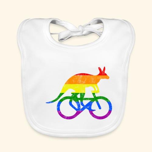 Radfahrer Känguru lustiges Fahrrad Regenbogenfahne - Baby Bio-Lätzchen