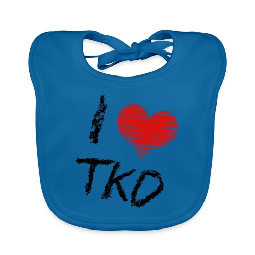 I love tkd letras negras - Babero de algodón orgánico para bebés