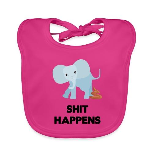 olifant met drol shit happens poep schaamte - Bio-slabbetje voor baby's