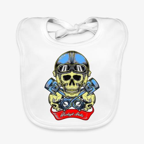 Teschio con casco vintage e pistoni - By Mescal - Bavaglino ecologico per neonato