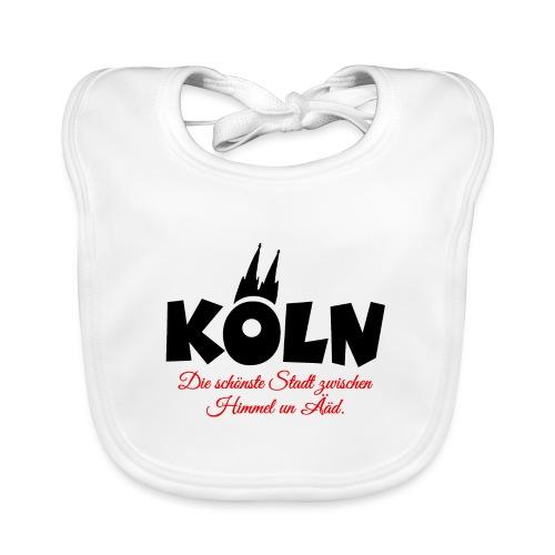 Köln zwischen Himmel un Ääd (Schwarz/Rot) - Baby Bio-Lätzchen