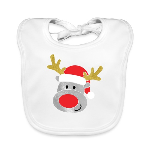 Christmas Reindeer for boys, just add kids name - Organic Baby Bibs