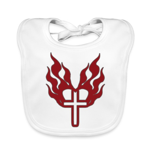 Cross and flaming hearts 02 - Baby Organic Bib