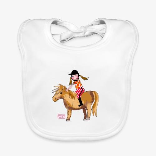 petite fille et poney - Bavoir bio Bébé