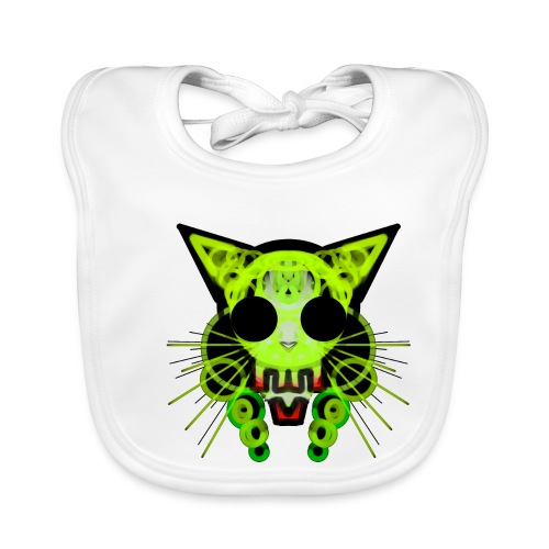 cat skeleton skull light green in deep black - Baby Organic Bib