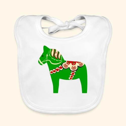 Grön dalahäst - Ekologisk babyhaklapp