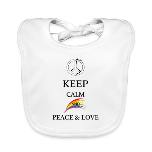 keep calm and Peace & Lov - Bavaglino ecologico per neonato
