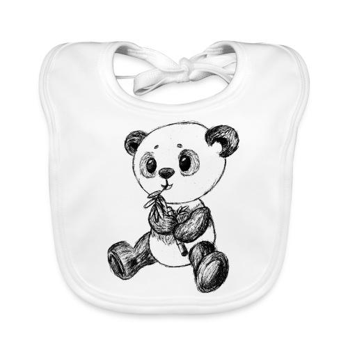 Panda bjørn sort scribblesirii - Hagesmække af økologisk bomuld