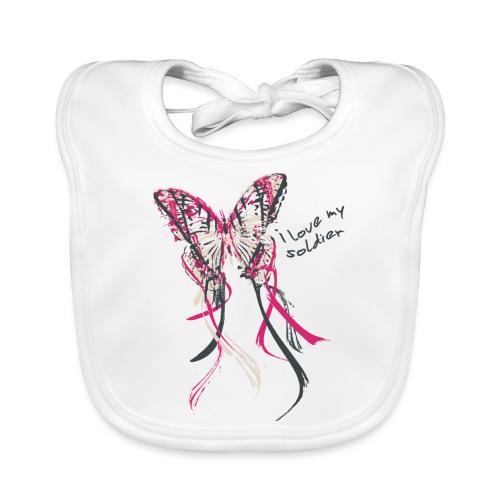 I love my soldier Butterfly3 pink dark - Baby Bio-Lätzchen