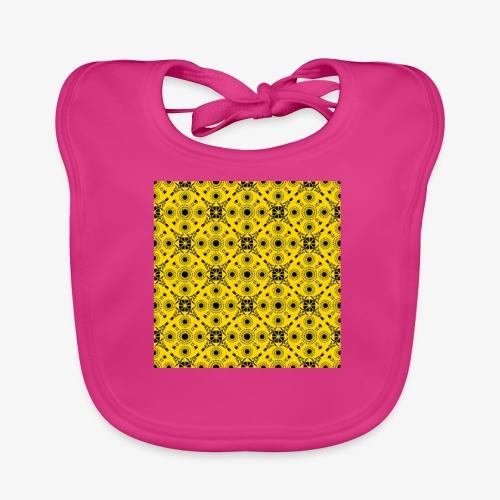 Design motifs jaune et noir - Bavoir bio Bébé