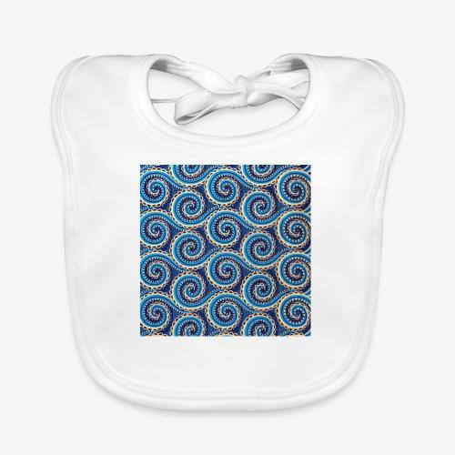 Spirales au motif bleu - Bavoir bio Bébé