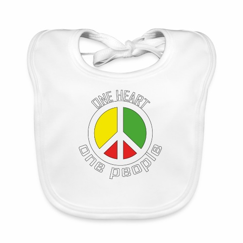 One Heart, One People - Peace - rot, gelb, grün - Baby Bio-Lätzchen