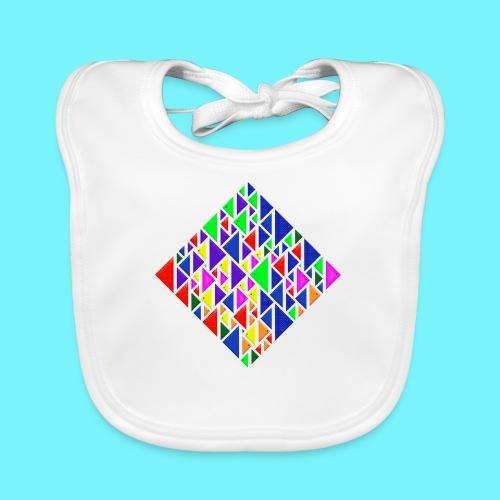 A square school of triangular coloured fish - Organic Baby Bibs