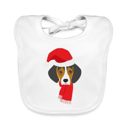 Perrito beagle vestido de Papá Noel - Babero de algodón orgánico para bebés