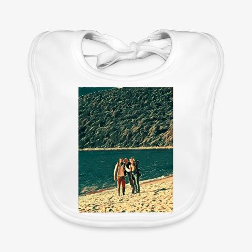 Tre amici sulla spiaggia si fotografano - Bavaglino