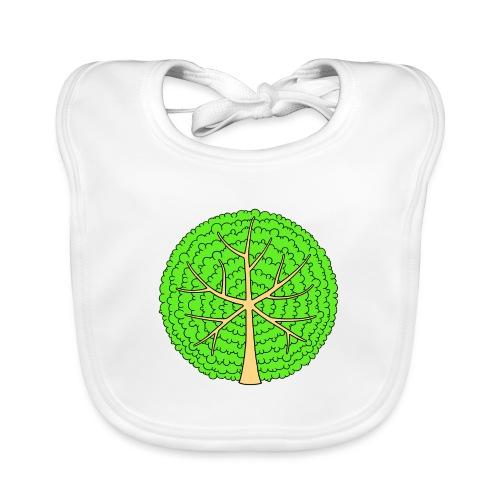 Baum, rund, hellgrün - Baby Bio-Lätzchen