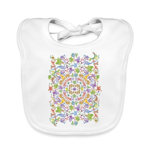 Crazy monsters posing for a colorful pattern - Baby Organic Bib