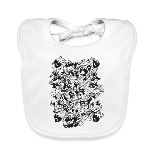 Scary black and white monsters doodle - Organic Baby Bibs