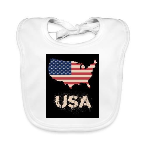 USA FLAG 4th of July With Flag - Ekologisk babyhaklapp