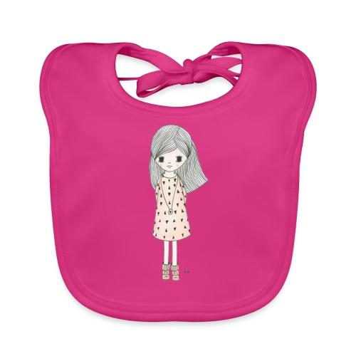 meisje met roze jurk - Bio-slabbetje voor baby's