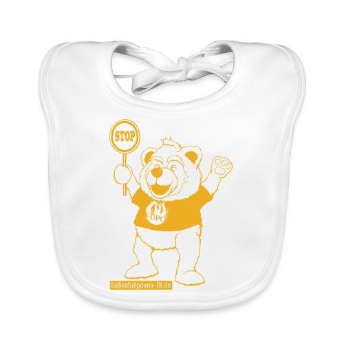 FUPO der Bär. Druckfarbe Orange - Baby Bio-Lätzchen