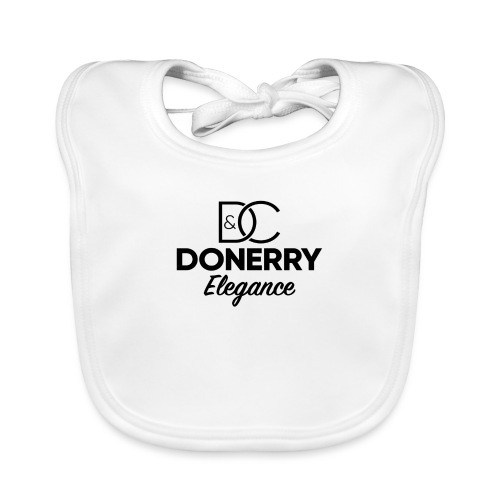 Donerry Elegance Black Logo on White - Organic Baby Bibs