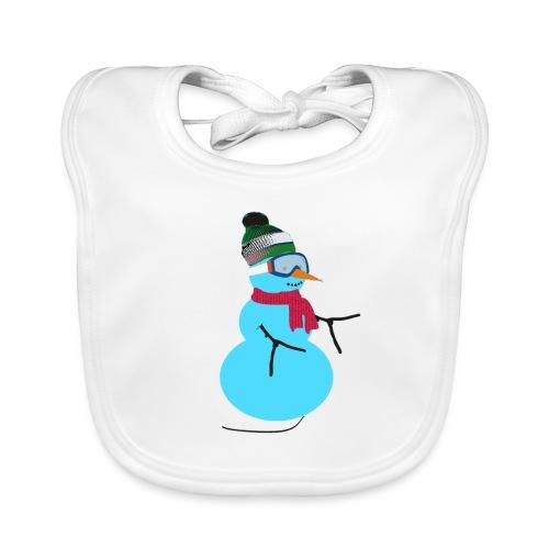 Snowboarding snowman - Vauvan luomuruokalappu