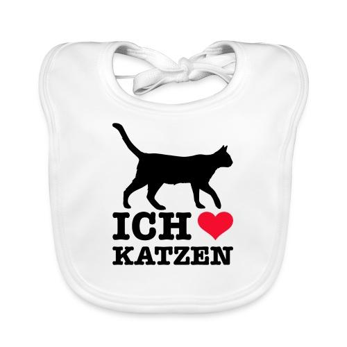 Ich liebe Katzen mit Katzen-Silhouette - Baby Bio-Lätzchen