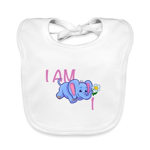I am 1 - elephant pink - Organic Baby Bibs