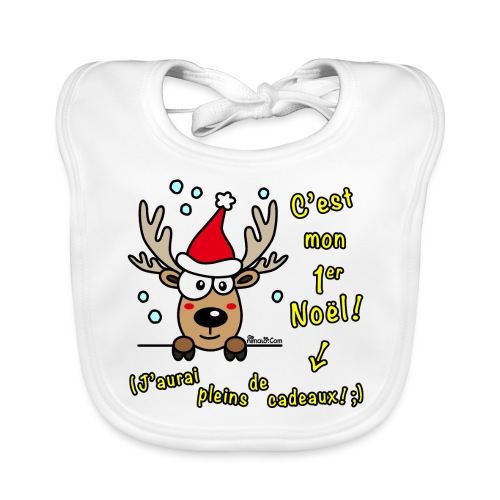 Renne - C'est mon Premier Noël - Cadeaux Drôles - Bavoir bio Bébé