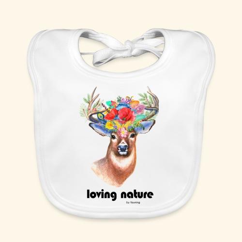 Ciervo con flores - Babero de algodón orgánico para bebés