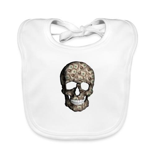 Skull Money Black - Babero de algodón orgánico para bebés