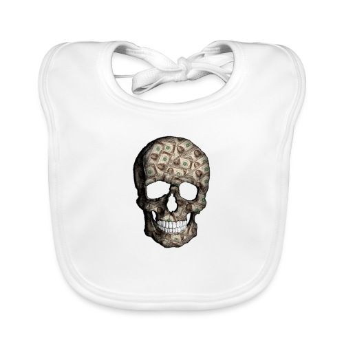 Skull Money Black - Babero ecológico bebé