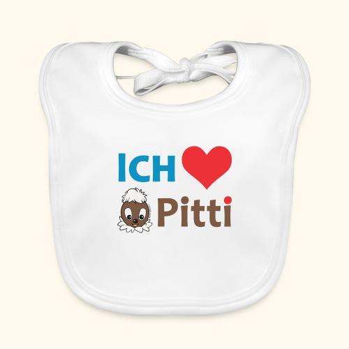 Pittiplatsch Ich liebe Pitti auf hell (blau/braun - Baby Bio-Lätzchen