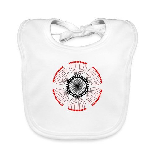 Red Poppy Seeds Mandala - Baby Organic Bib