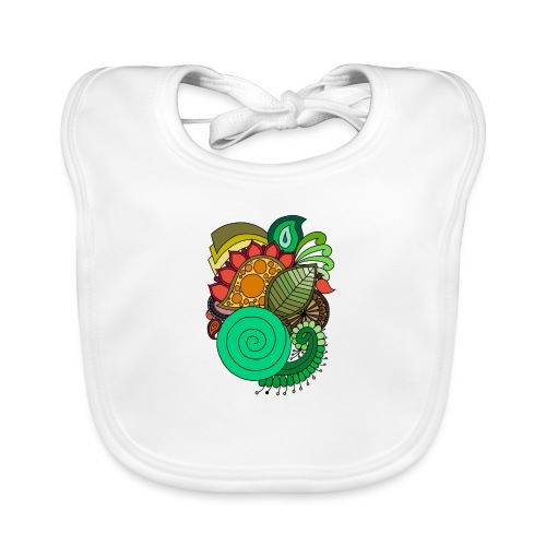 Coloured Leaf Mandala - Baby Organic Bib