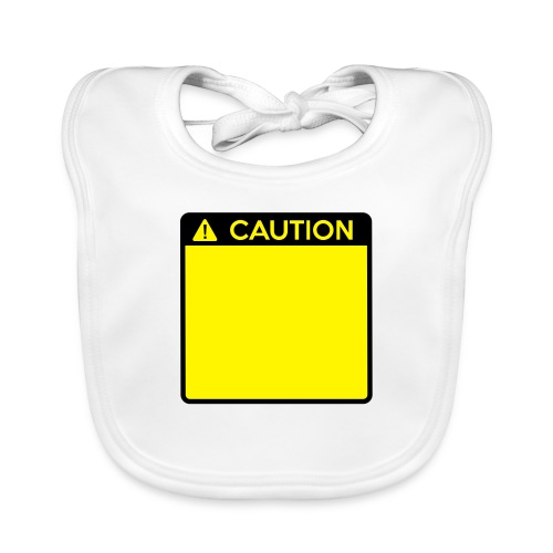 Caution Sign (2 colour) - Baby Organic Bib