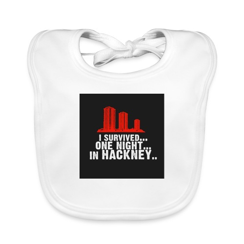 i survived one night in hackney badge - Organic Baby Bibs