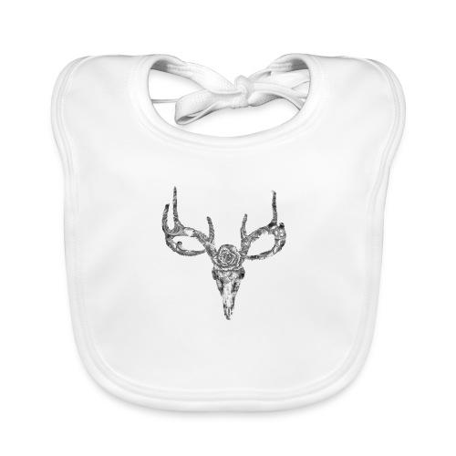 Deer skull with rose - Vauvan luomuruokalappu