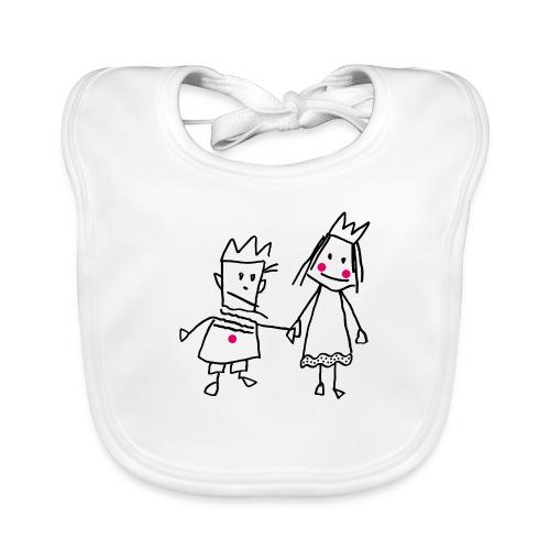 Strichmännchen verliebtes Königspaar Valentinstag - Baby Organic Bib