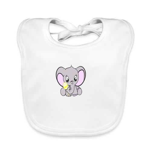 Baby olifantje met rammelaar - Bio-slabbetje voor baby's
