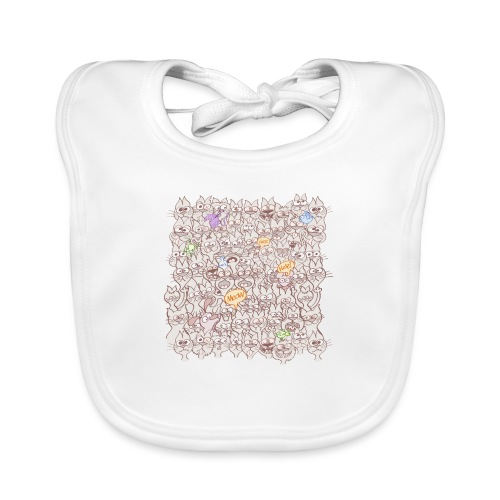 Funny cats posing in a meowing pattern - Baby Organic Bib