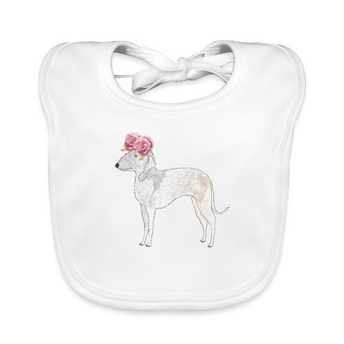bedlington terrier with roses - Baby økologisk hagesmæk