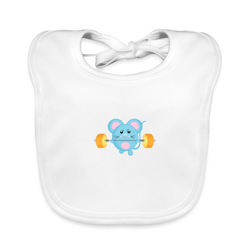 little mouse, mouse, mouse on sports, mouse with barbell - Organic Baby Bibs