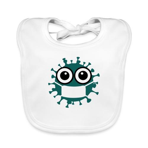 CORONA Virus mit Maske - Comic Art Grafik - Baby Bio-Lätzchen