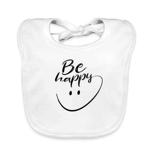 Be Happy With Hand Drawn Smile - Baby Organic Bib