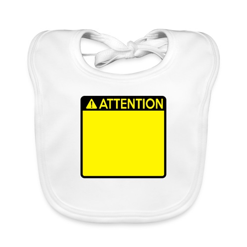 Attention Sign (2 colour) - Baby Organic Bib